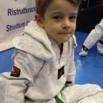 Il piccolo Andrea concentrato prima della battaglia :-)