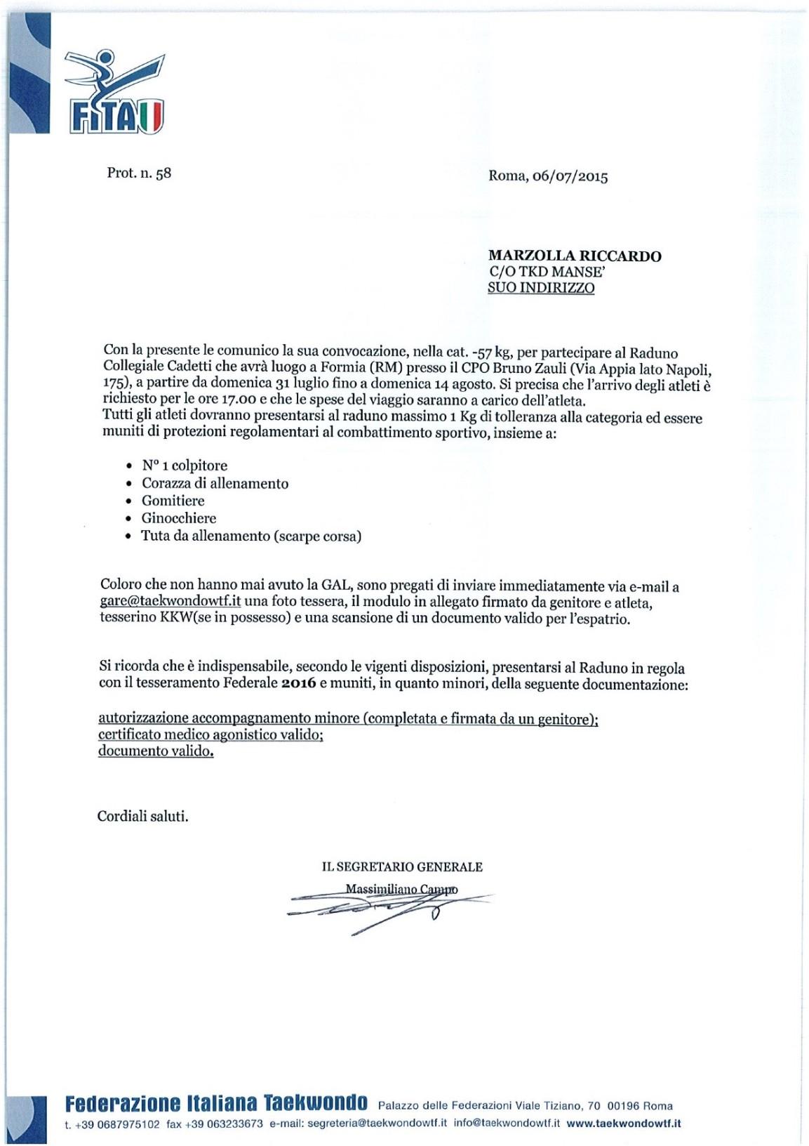 Foglio di convocazione per Riccardo Marzolla nella categoria cadetti a -57 kg