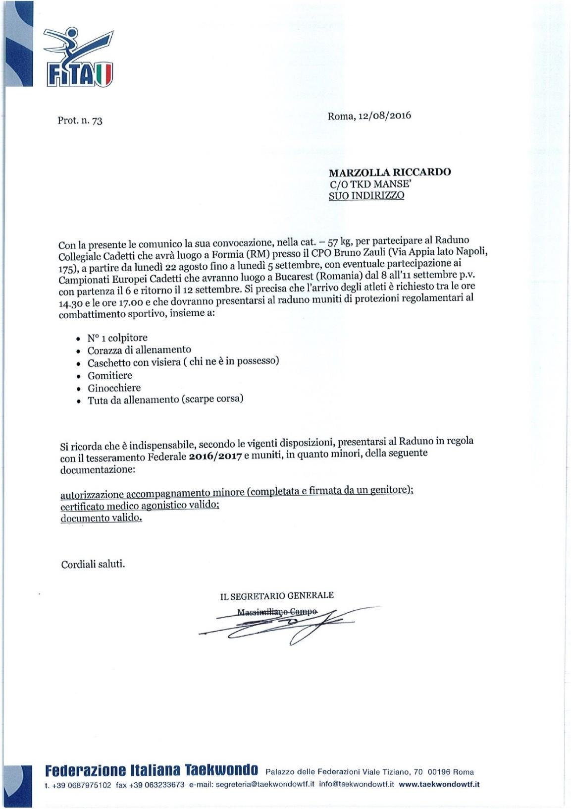 Convocazione in Nazionale per Riccardo Marzolla ... 1 2 3 taekwondo mansé