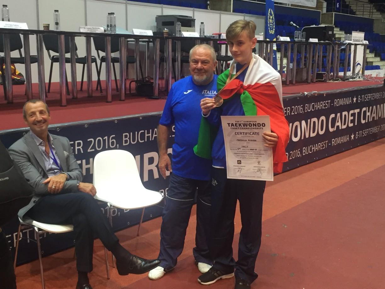 Momenti di gioia Riccardo con il M° Baglivo tecnico della nazionale