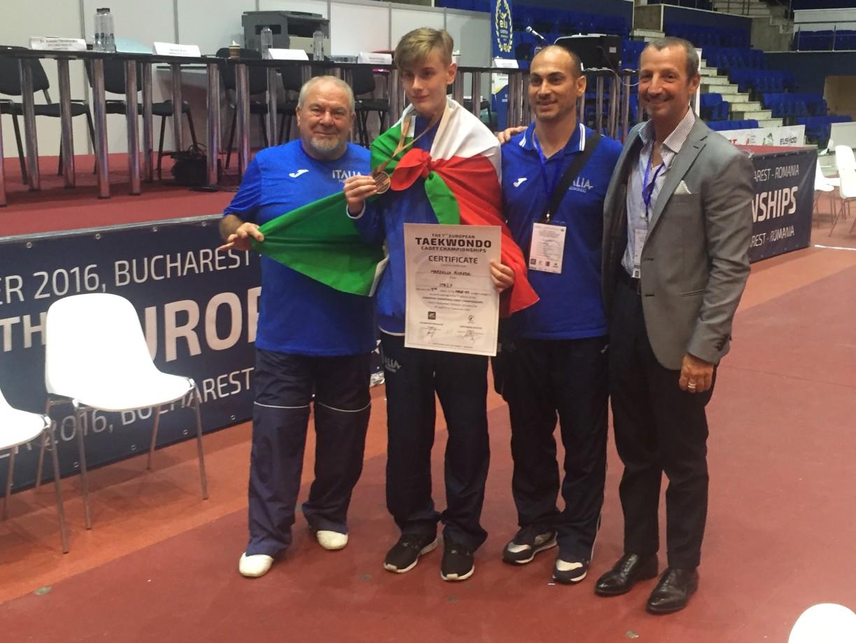 Riccardo con i tecnici nazionali M°Baglivo e M° Lo pinto in compagnia del Segretario generale Massimiliano Campo