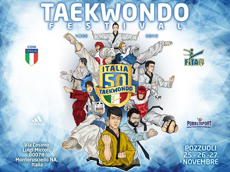 La storica locandina dell'evento 50 anni di taekwondo in ITALIA.